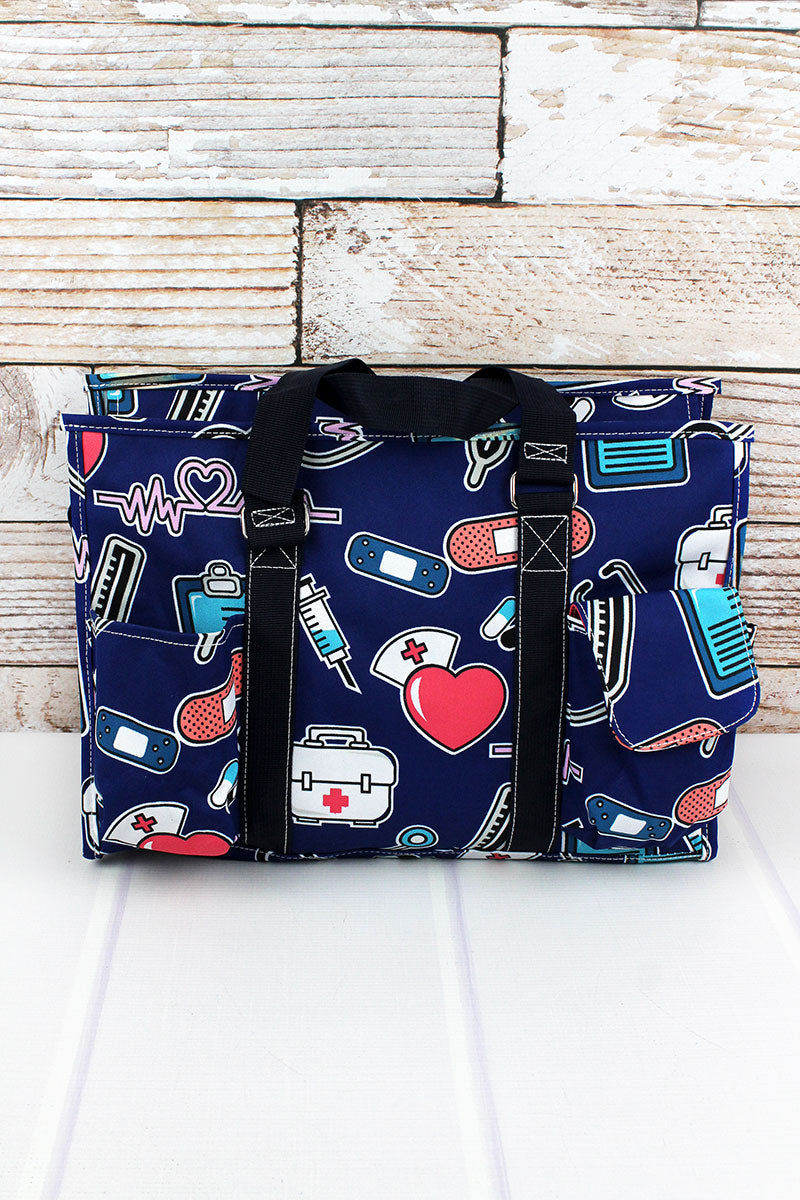 NGIL Nurse Love Utility Tote with Navy Trim