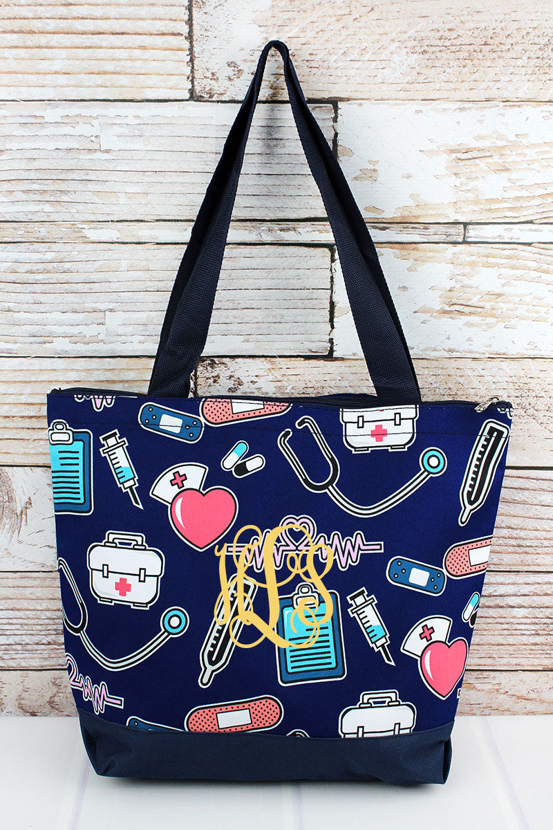 NGIL Nurse Love with Navy Trim Tote Bag