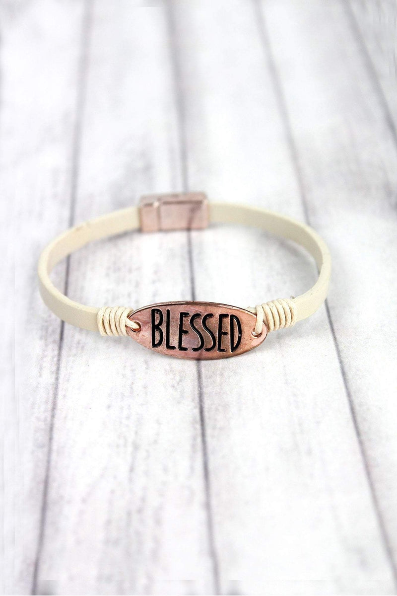 Rose Goldtone 'Blessed' Cream Faux Leather Magnetic Bracelet