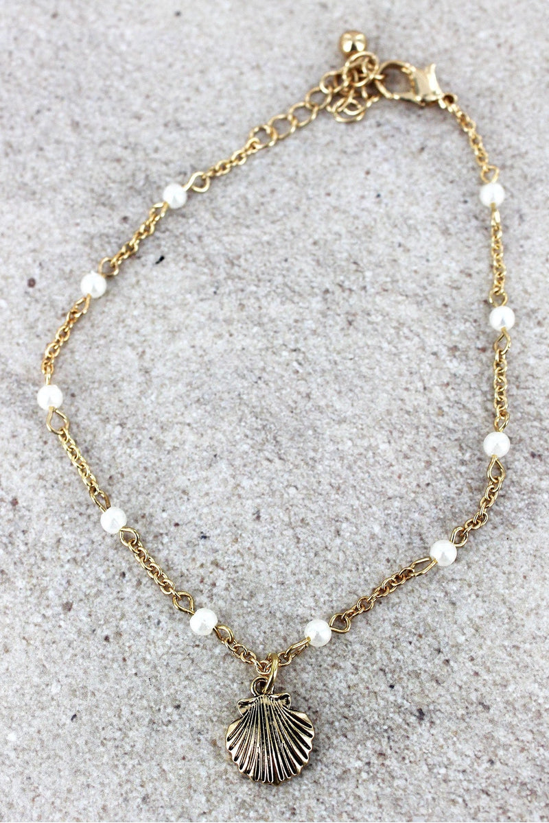 Goldtone and Pearl Peach Clam Shell Charm Anklet