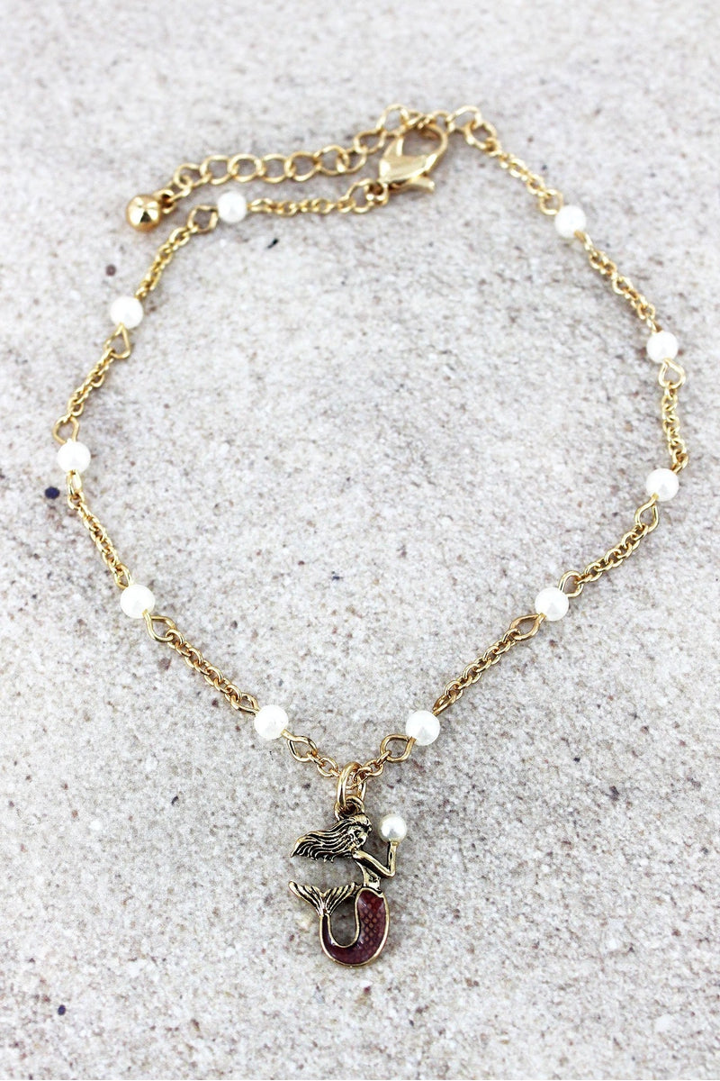 Goldtone and Pearl Pink Mermaid Charm Anklet