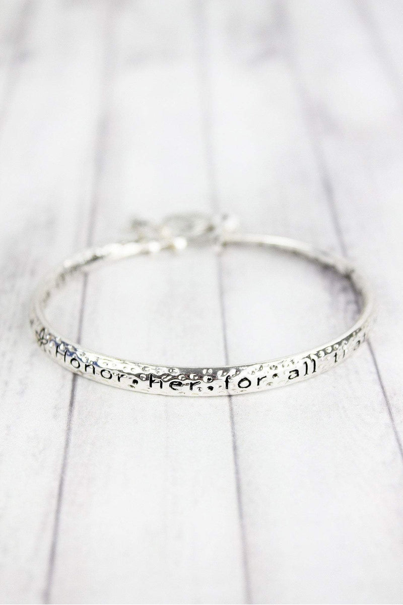 Women of God Silvertone Twist Bangle with Charms