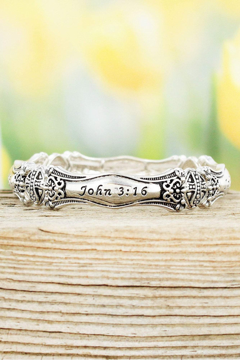 Antique Silvertone John 3:16 Spoon Stretch Bracelet