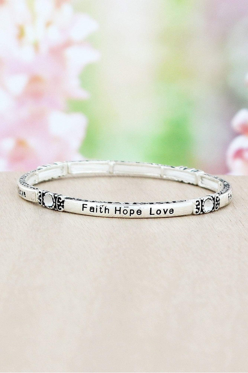 Silvertone Scroll 'Faith Hope Love' Stretch Bracelet