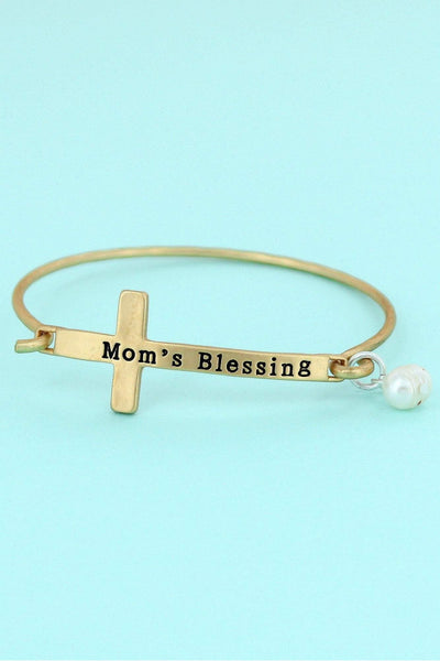 Matte Goldtone 'Mom's Blessing' Cross Bracelet