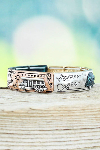 Burnished Tri-Tone and Patina 'Home Is Where We Park It' Happy Camper Stretch Bracelet