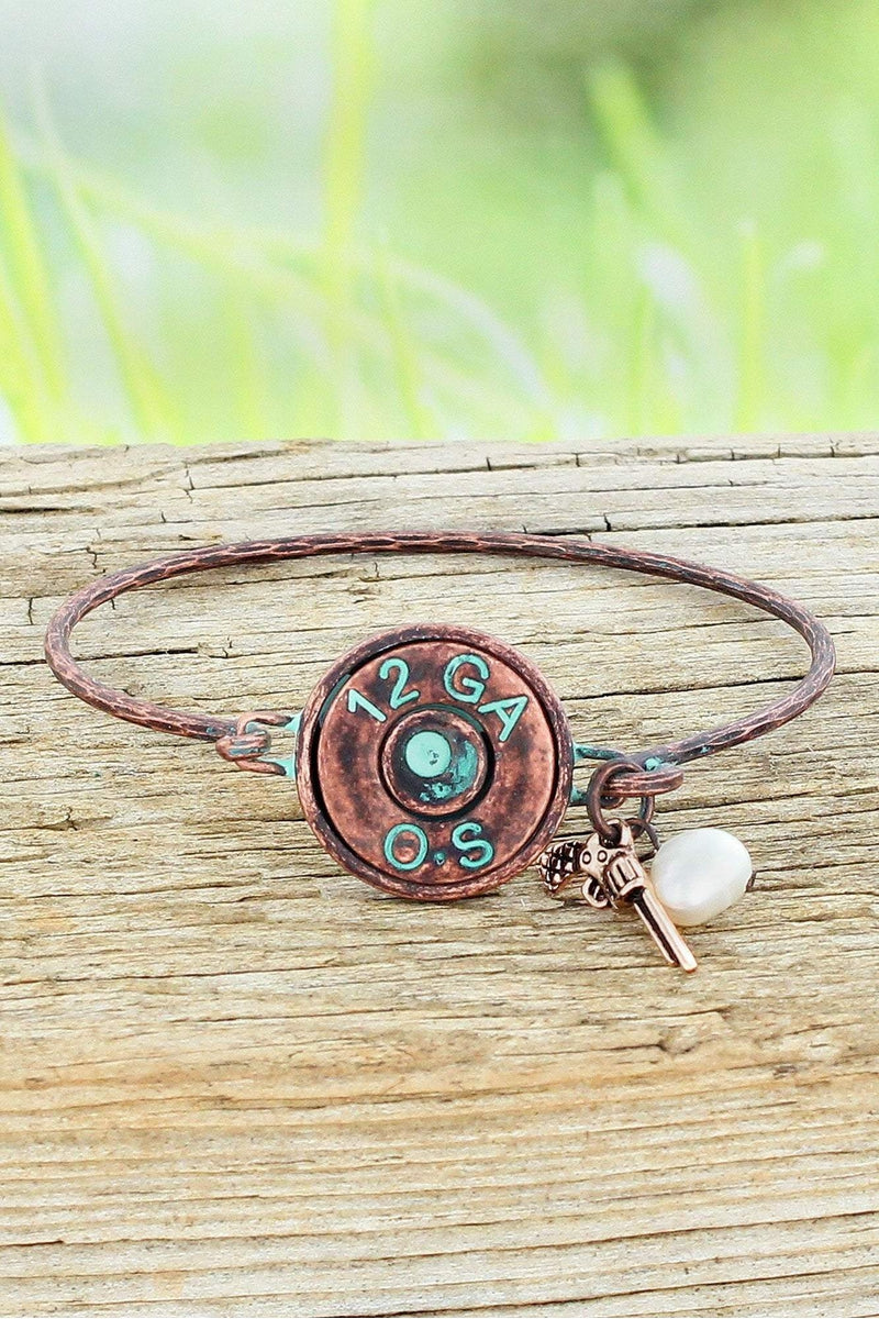 Coppertone and Patina 12 Gauge Bullet with Charms Bracelet #OB07390-P3TPR