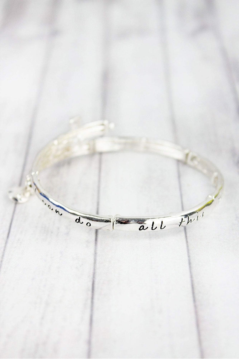 Silvertone 'Philippians 4:13' Cross Bangle