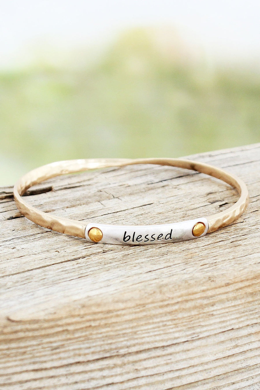 Hammered Worn Goldtone with Silvertone 'Blessed' Twist Bangle