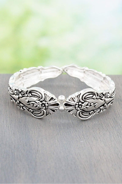 Antique Silvertone Flower Fan Spoon Stretch Bracelet