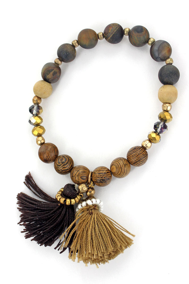 SALE! Brown Double Tassel Wood Beaded Stretch Bracelet