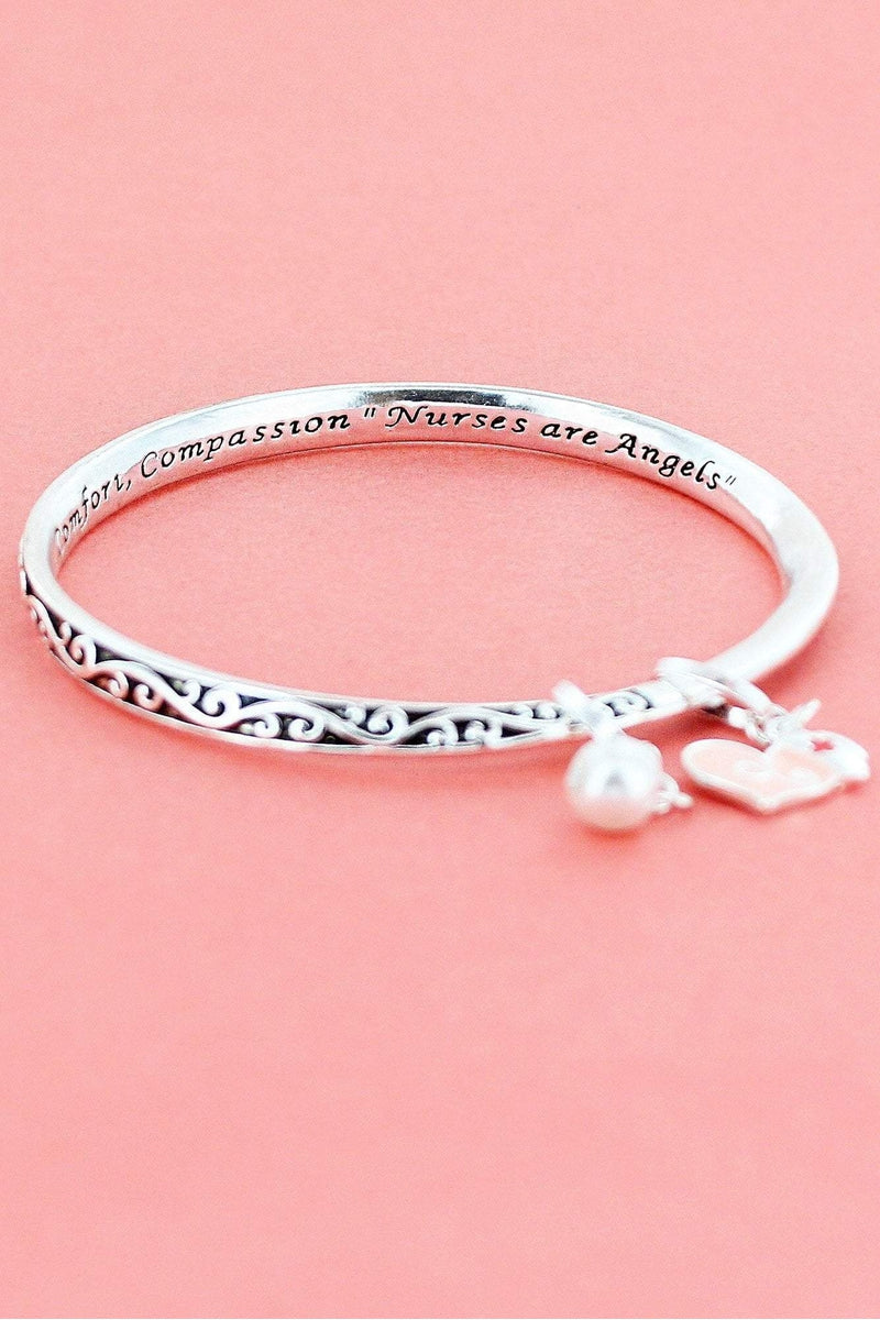 Nurse Silvertone Twist Bangle with Heart Charm