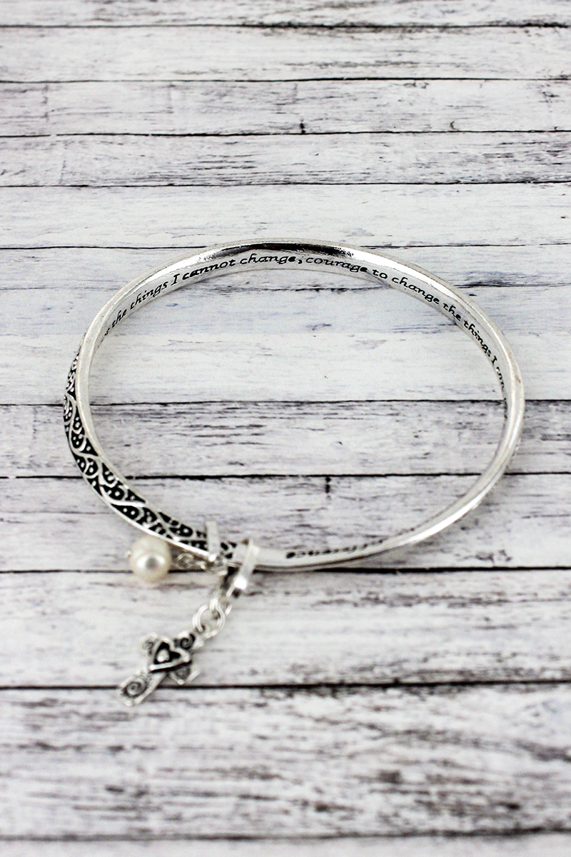 The Serenity Prayer Silvertone Twist Bangle with Charms