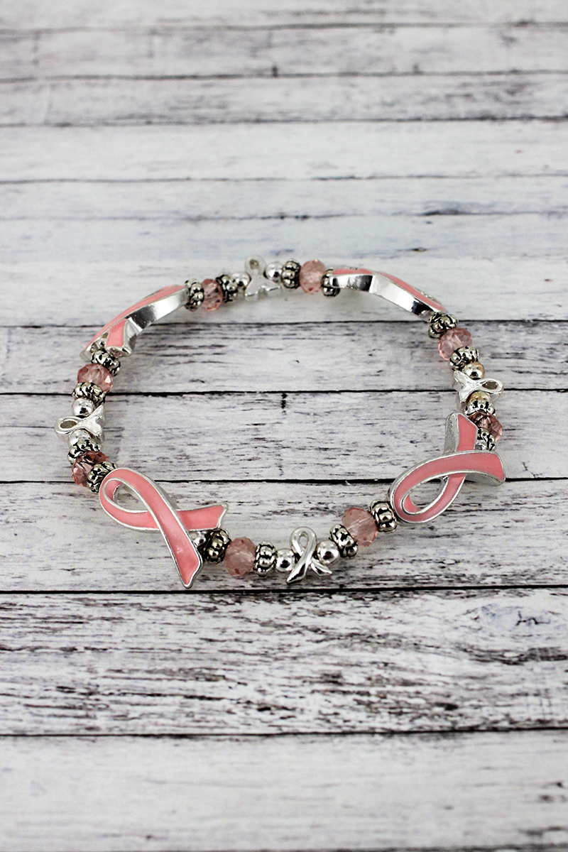 Pink Ribbon and Faceted Bead Stretch Bracelet