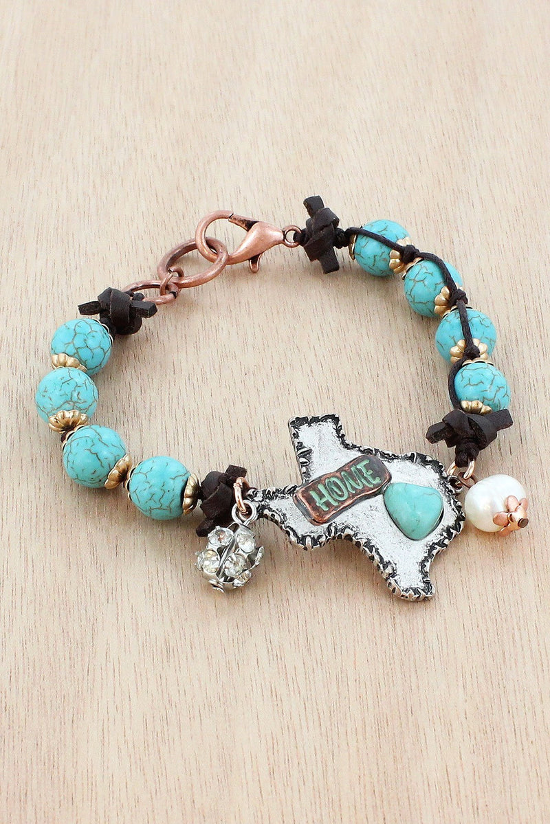 SALE! Burnished Silvertone and Turquoise 'Home' Texas Beaded Bracelet