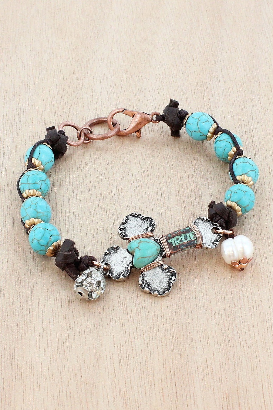 Burnished Silvertone and Turquoise 'True' Cross Beaded Bracelet