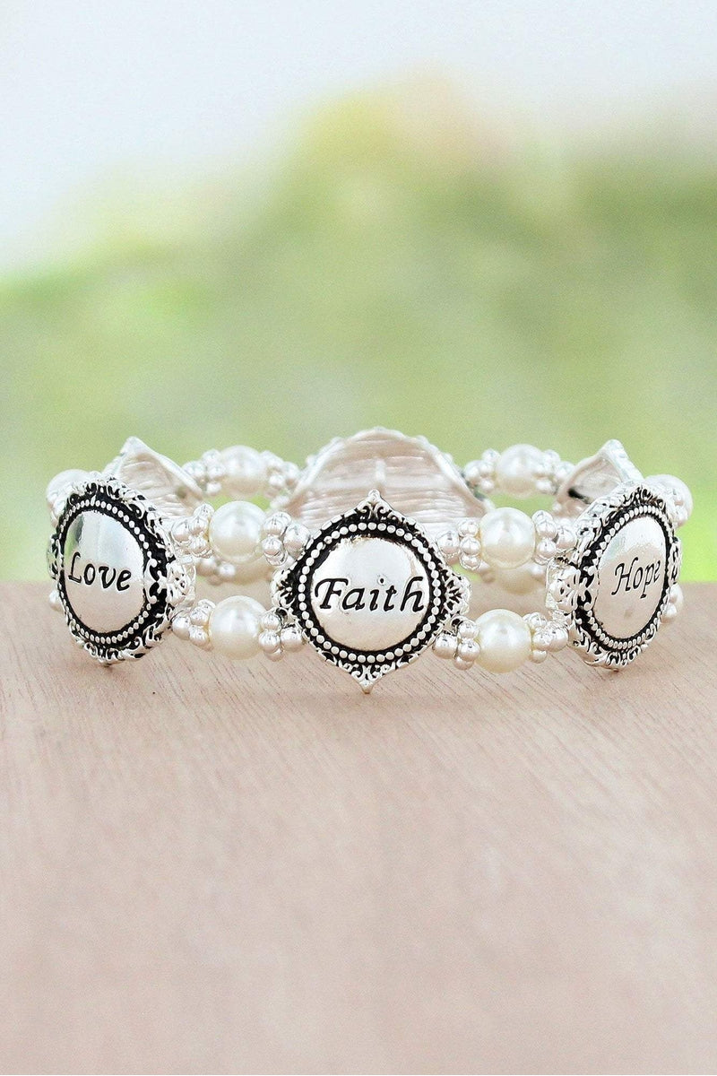 Antique Silvertone 'Faith Hope Love' Pearl Beaded Stretch Bracelet