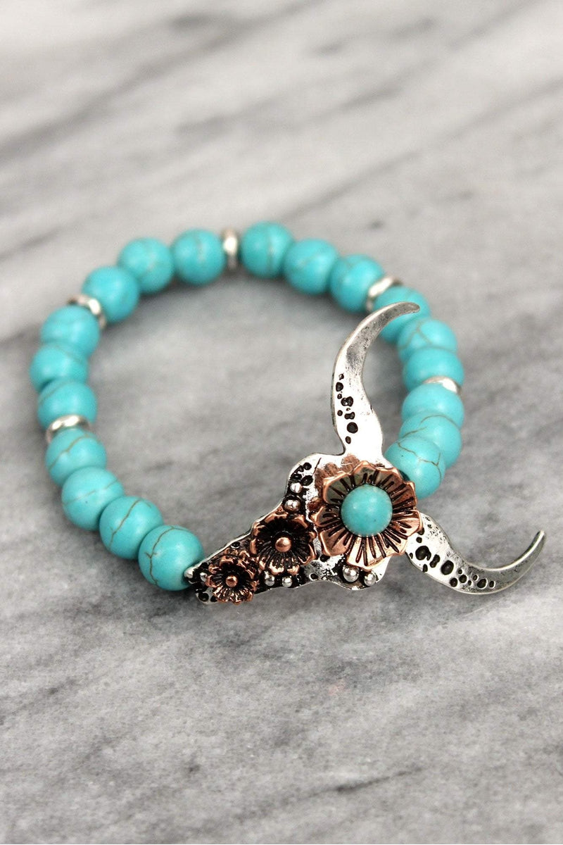 Burnished Two-Tone and Turquoise Bead Longhorn Stretch Bracelet