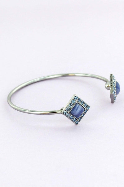 Blue Crystal and Agate Bead Double Diamond Cuff Bangle