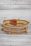 Beaded Rose Goldtone Magnetic Bracelet