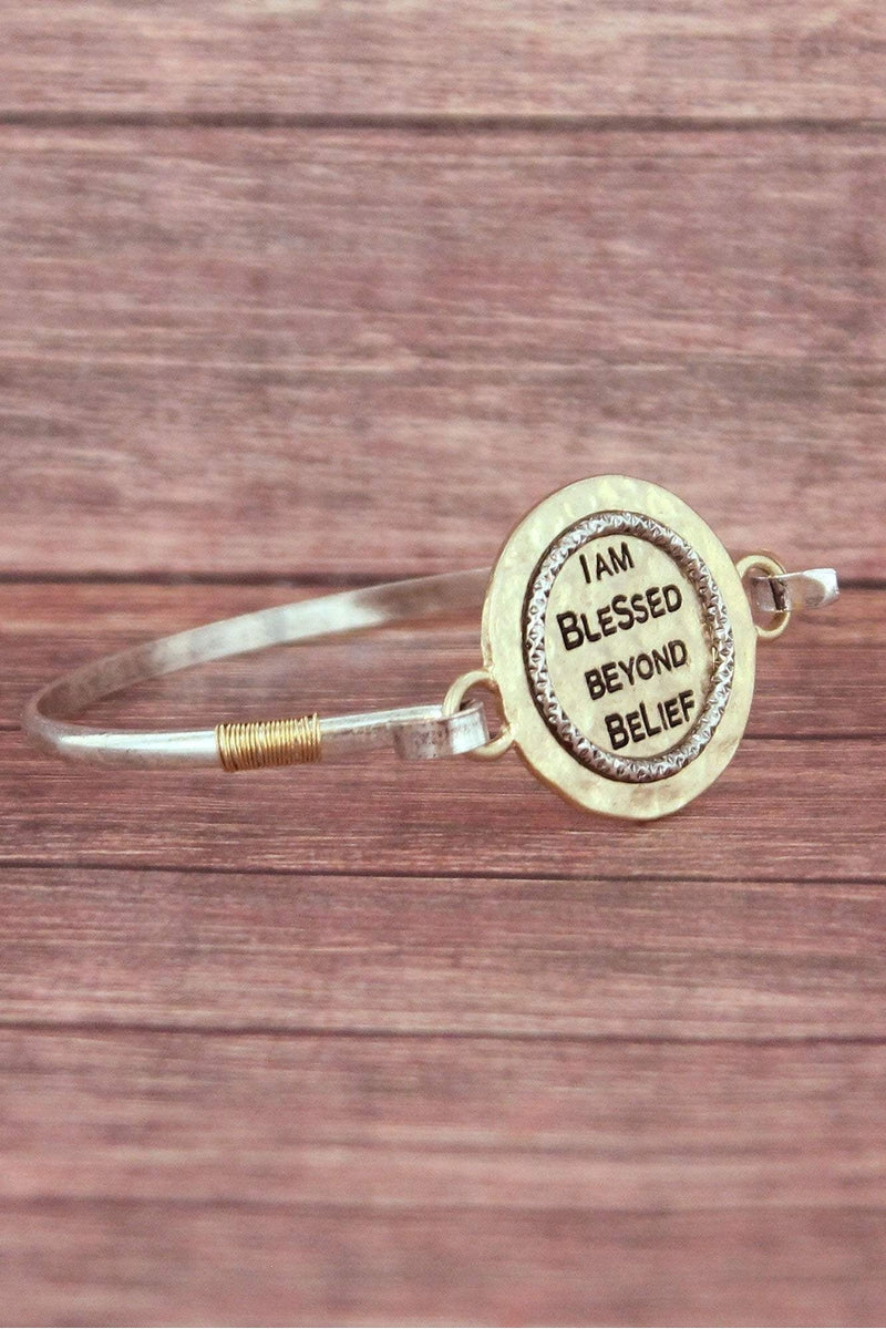 Goldtone and Silvertone 'Blessed Beyond Belief' Bracelet