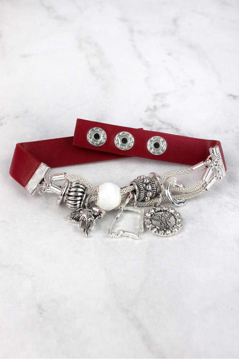 Silvertone Alabama Charm Red Faux Leather Cuff Bracelet