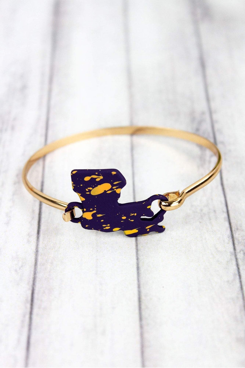 Purple and Gold Splatter Louisiana Goldtone Bracelet