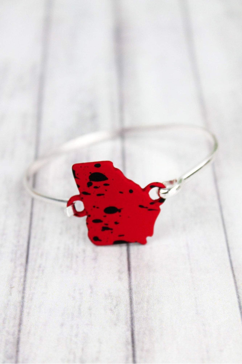 Red and Black Splatter Georgia Silvertone Bracelet