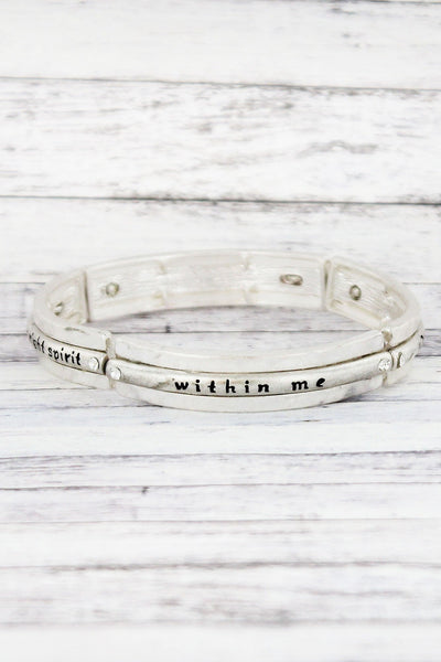 Worn Silvertone and Crystal 'Create In Me' Stretch Bracelet