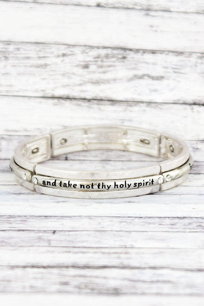 Worn Silvertone and Crystal 'Cast Me Not Away' Stretch Bracelet