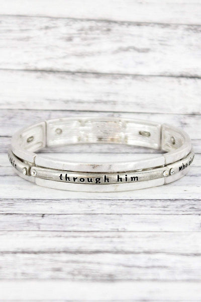 Worn Silvertone and Crystal Philippians 4:13 Stretch Bracelet