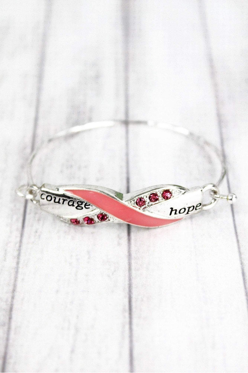 Silvertone and Pink Crystal 'Courage Hope' Pink Ribbon Bracelet