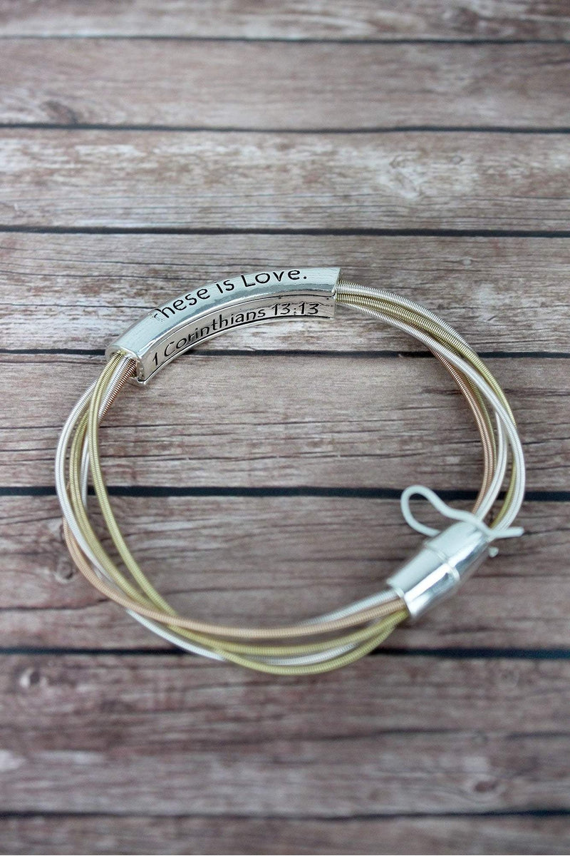 Silvertone 'Faith Hope Love' Bar Tri-Tone Piano Wire Magnetic Bracelet