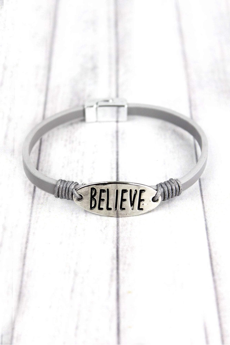 Silvertone 'Believe' Gray Faux Leather Magnetic Bracelet