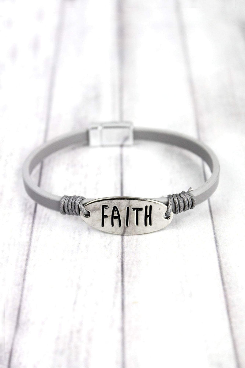 Silvertone 'Faith' Gray Faux Leather Magnetic Bracelet