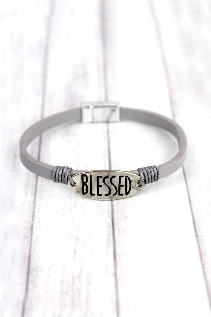 Silvertone 'Blessed' Gray Faux Leather Magnetic Bracelet