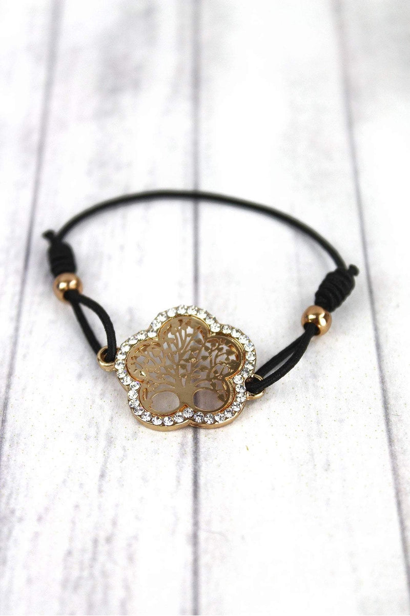 Crystal Trimmed Goldtone Tree of Life Stretch Cord Bracelet