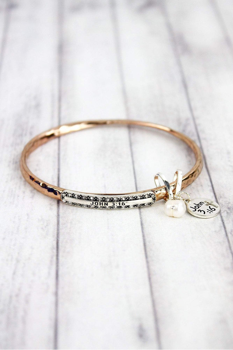 Rose Goldtone with Silvertone 'John 3:16' Twist Bangle with Charms