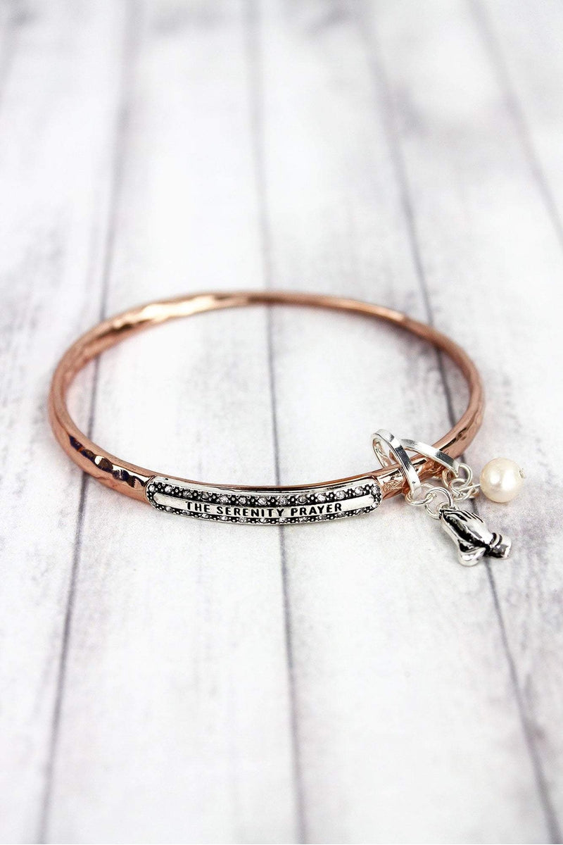 Rose Goldtone with Silvertone 'The Serenity Prayer' Twist Bangle with Charms