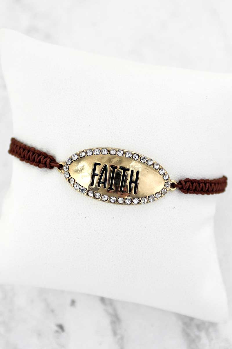 SALE! Crystal Goldtone 'Faith' Adjustable Brown Cord Bracelet