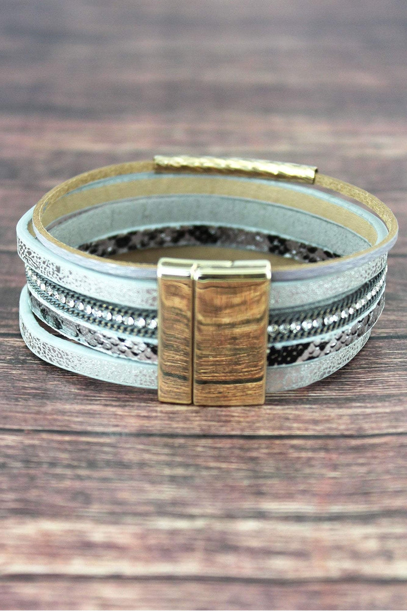 Metallic Gray and Goldtone Bar Multi-Strand Magnetic Bracelet