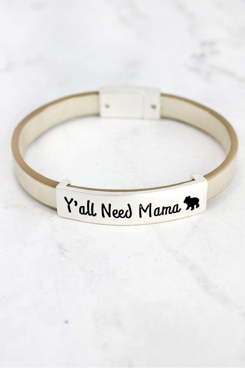 Matte Silvertone 'Y'all Need Mama' Silver Faux Leather Magnetic Bracelet