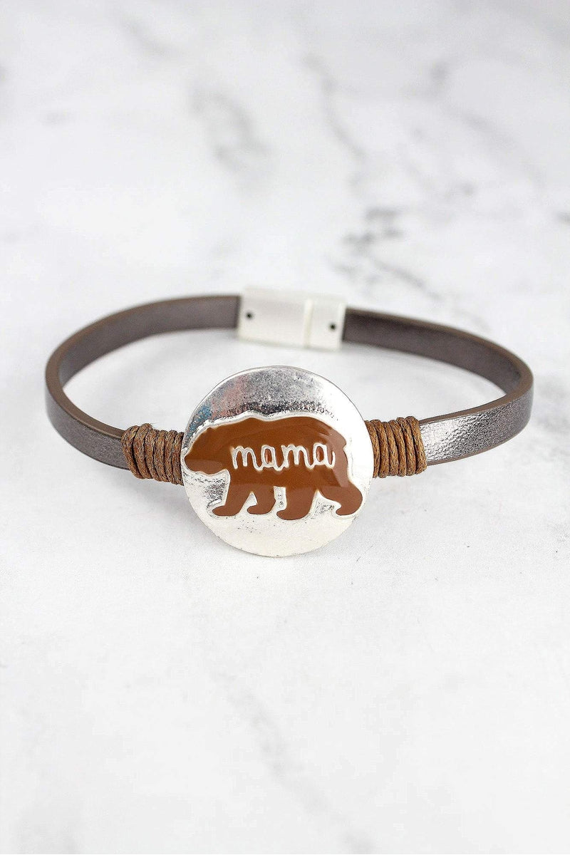 Matte Silvertone and Brown Mama Bear Faux Leather Magnetic Bracelet