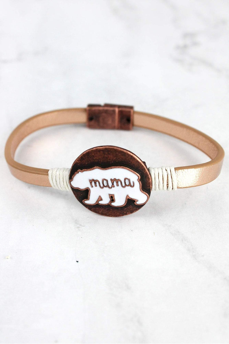 Worn Coppertone and White Mama Bear Faux Leather Magnetic Bracelet