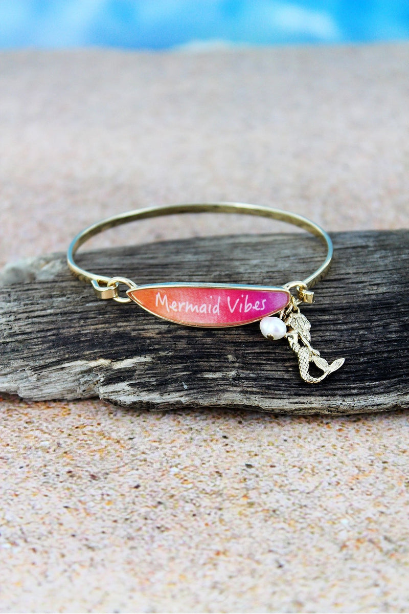 Pink 'Mermaid Vibes' Surfboard with Goldtone Mermaid Charm Bangle