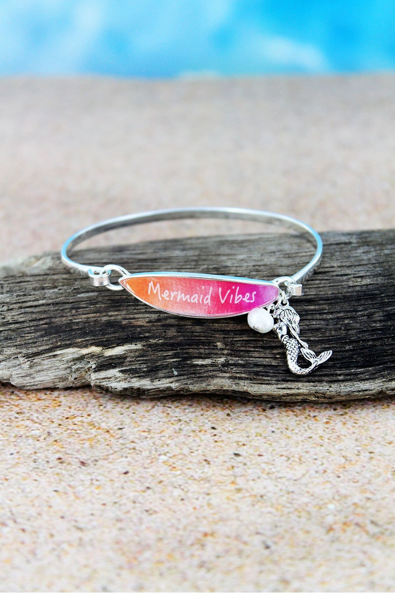 Pink 'Mermaid Vibes' Surfboard with Silvertone Mermaid Charm Bangle