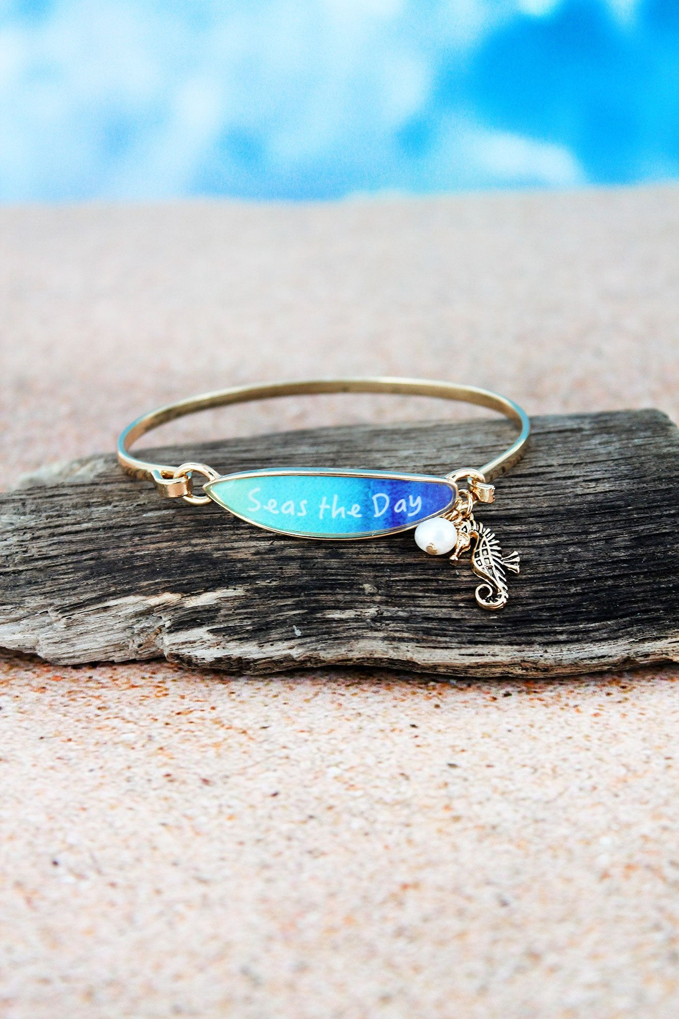 Blue 'Seas The Day' Surfboard with Goldtone Seahorse Charm Bangle