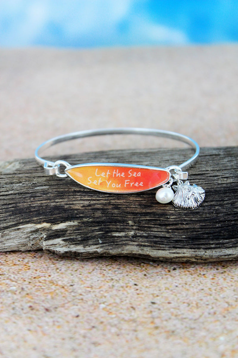 Orange 'Let The Sea Set You Free' Surfboard with Silvertone Seashell Charm Bangle