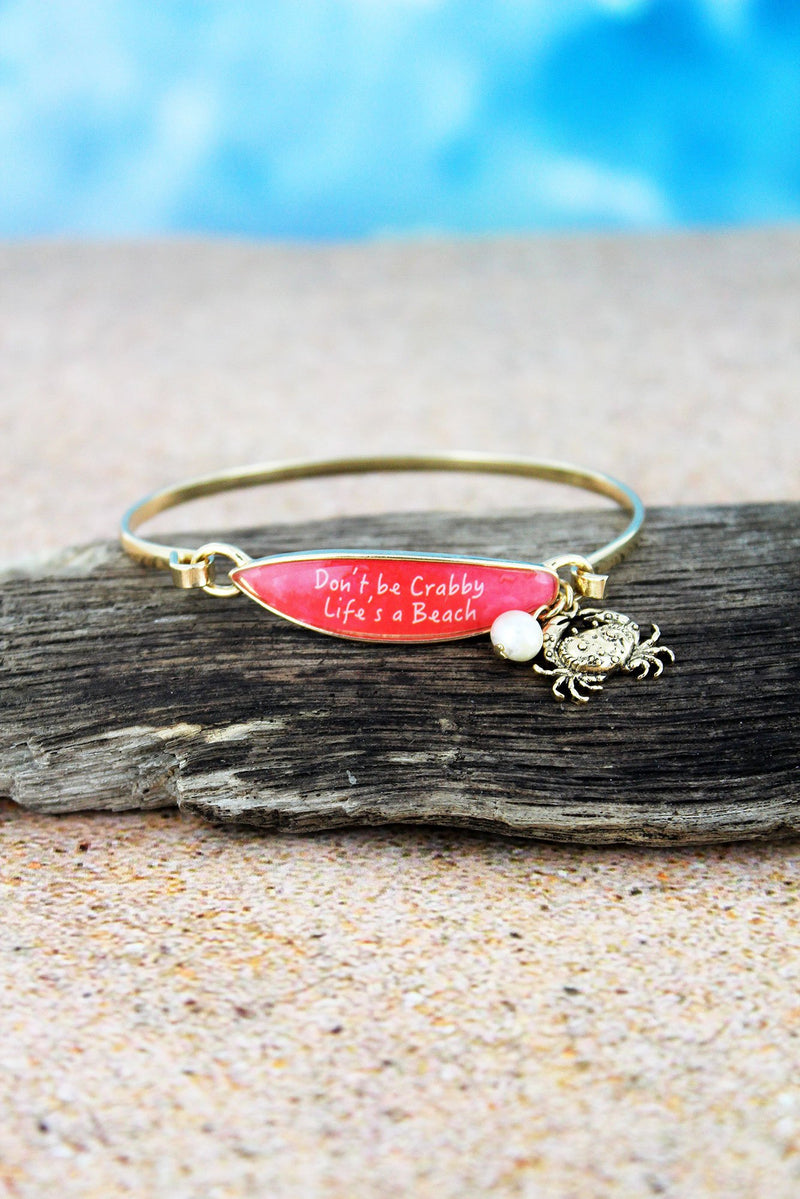 Red 'Life's A Beach' Surfboard with Goldtone Crab Charm Bangle