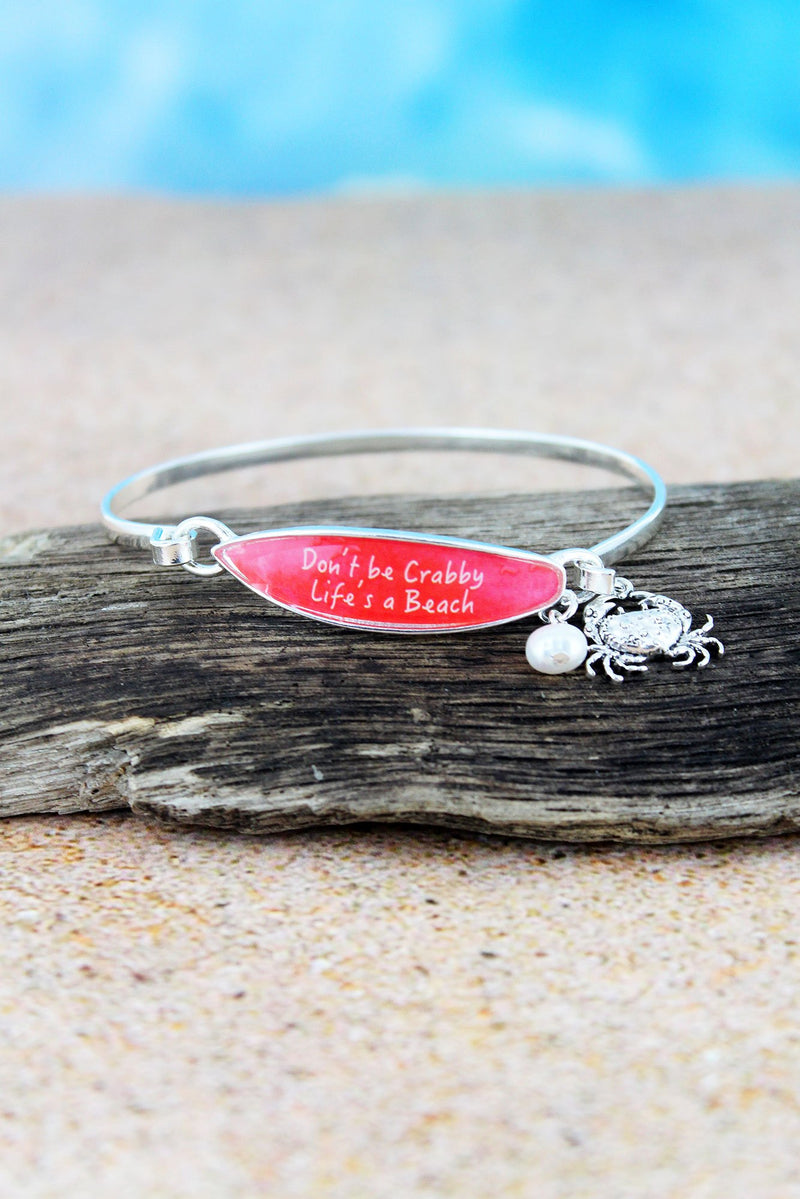 Red 'Life's A Beach' Surfboard with Silvertone Crab Charm Bangle